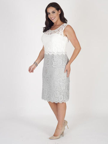 Grey/Ivory Bodice Scallop Layered Lace Dress