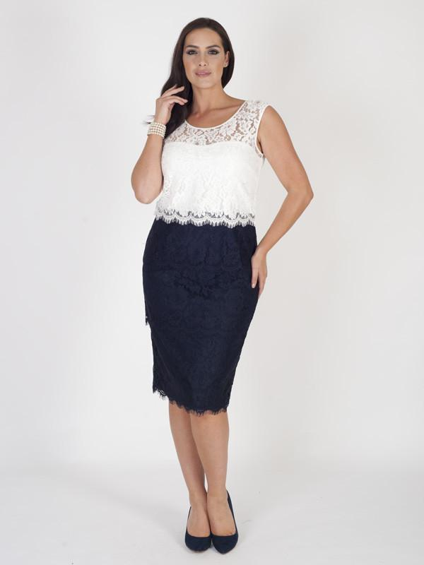 Navy/Ivory Bodice Scallop Layered Lace Dress