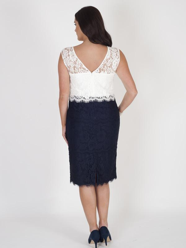 Navy/Ivory Bodice Scallop Layered Lace Dress - Pre Order (Delivery due - Mid April)