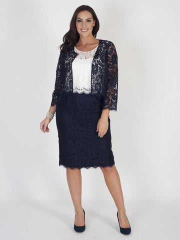 Navy Scallop Trim Lace Jacket