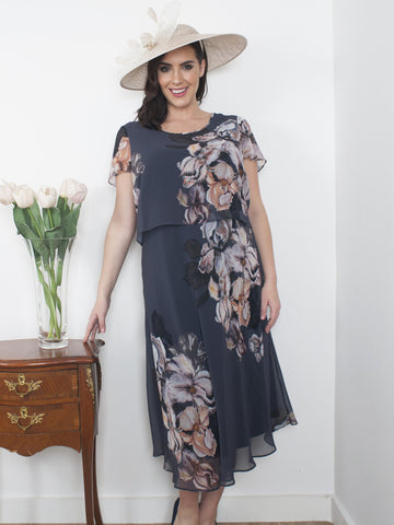 Hyacinth Iris Floral Print Layered Chiffon Dress LIMITED STOCK NEW DELIVERY DUE IN JUNE