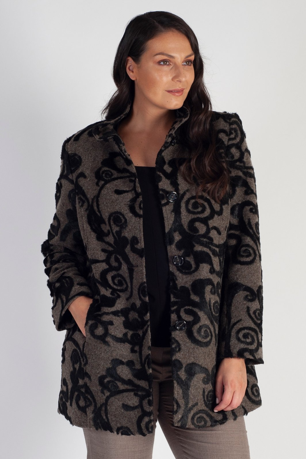 Eugen Klein Taupe/Black Coat With Raised Cut Fur Scroll Design