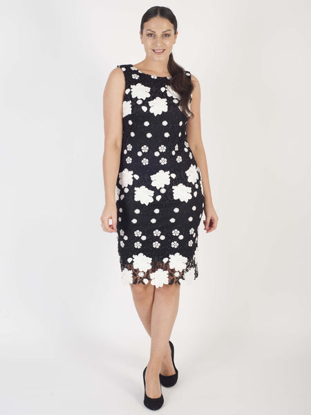 FRANK LYMAN Black/White Crochet Lace Dress