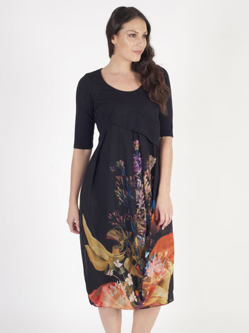 Black/Orange Tulip Print Chiffon Dress with Jersey bodice
