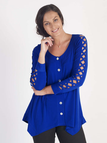 Sapphire Criss Cross Sleeve Button Thru Tunic