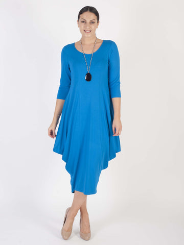 Azure Princess Seam Jersey Dress-Signature drape hem