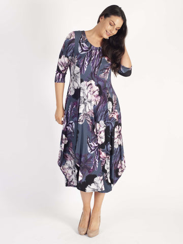 Pewter Large Floral Print Princess Seam Jersey Drape Dress