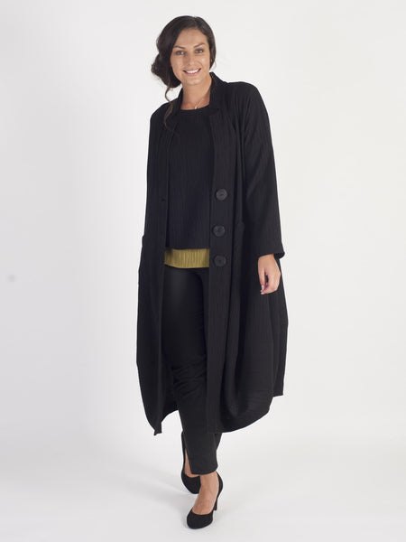 Black Treebark Crinkle Jacquard Notch Neck Coat