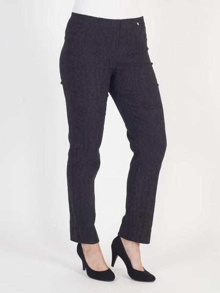 Black Jacquard Slim Trouser