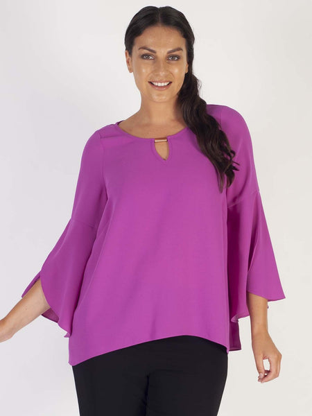 Magenta Wrap Sleeve Detail Crepe Top