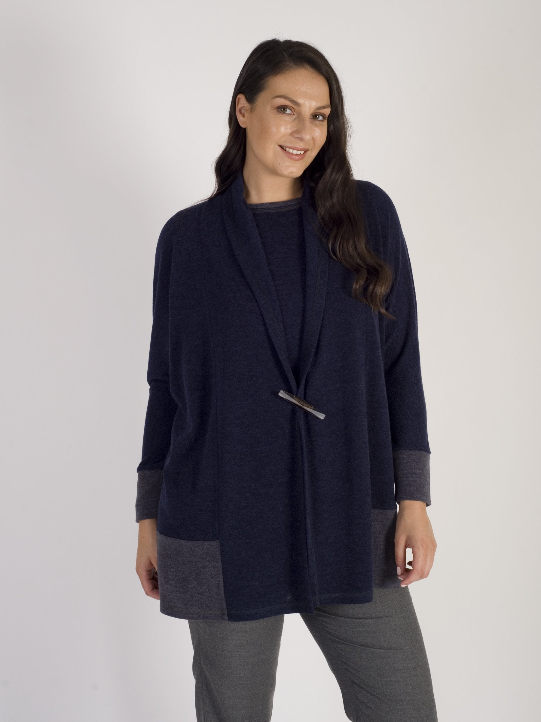 Calaluna Navy and Grey Colour Block Cardigan