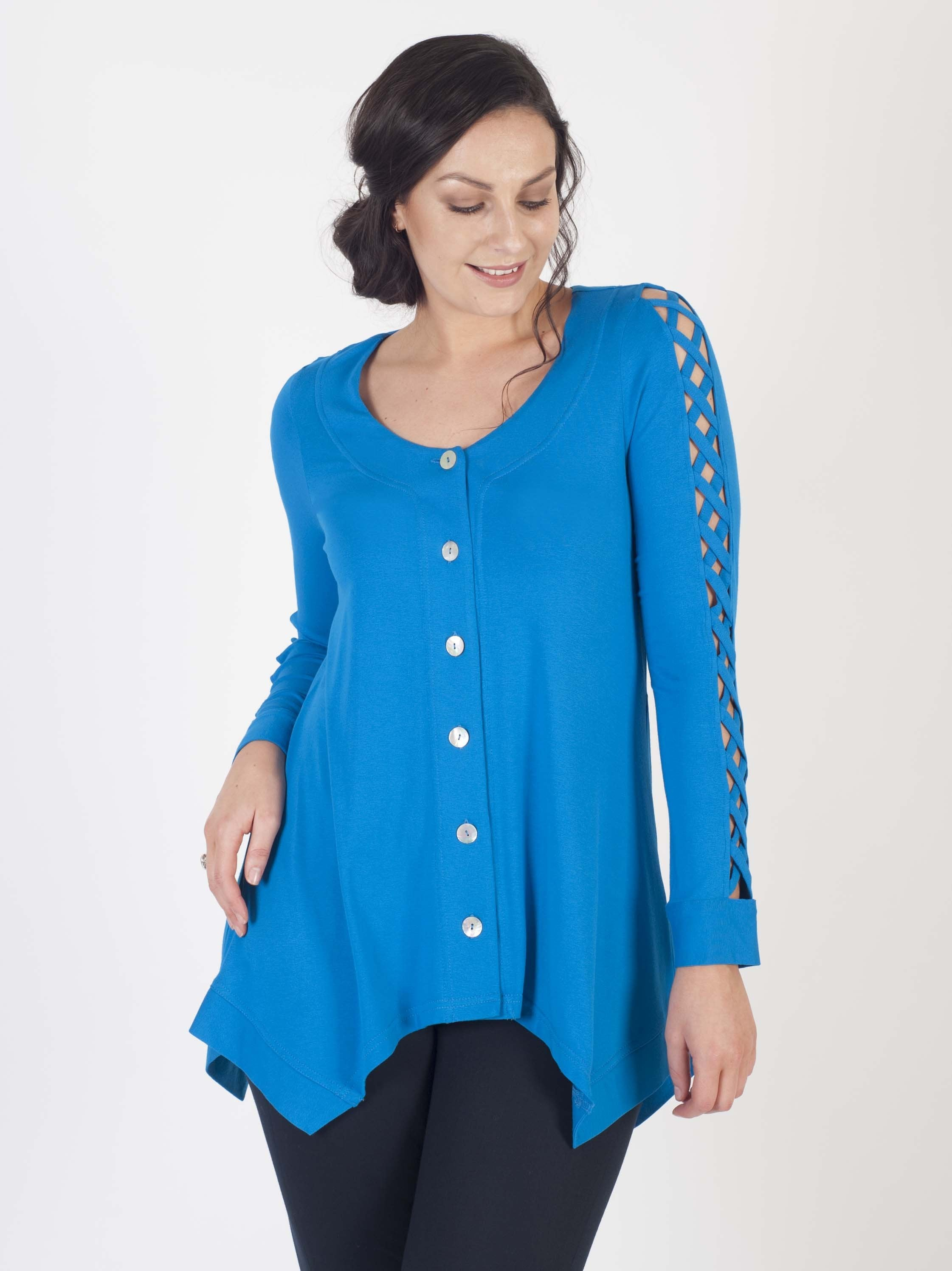 Azure Tunic With Criss Cross Detail On Sleeve