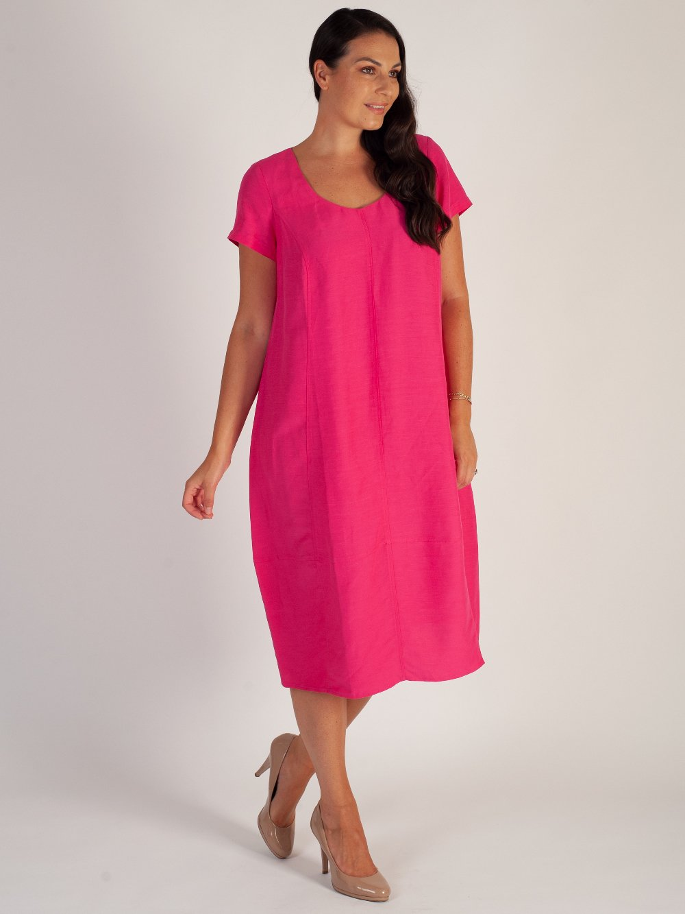 Pink Short Sleeve Diamond Back Cocoon Linen Dress