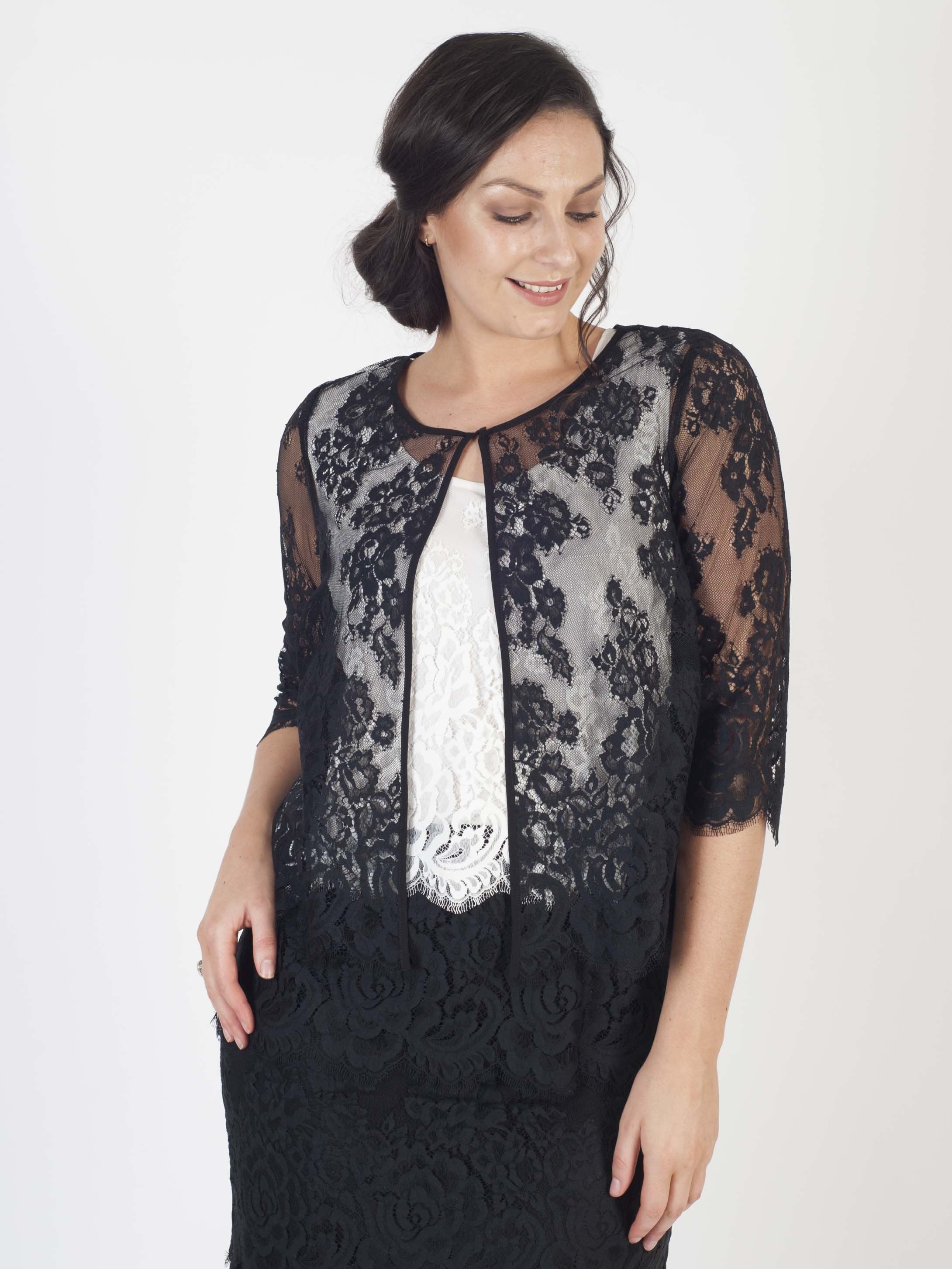 Black Eyelash Trim Scallop Lace Jacket