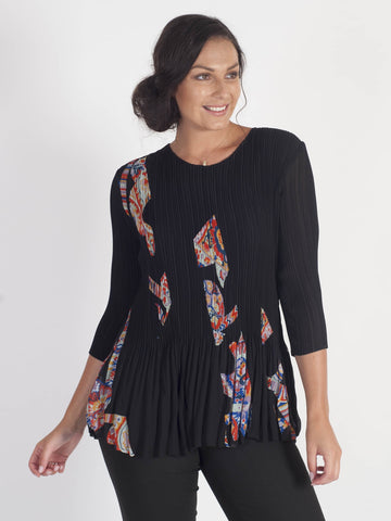 Black Print Panel Trim Crush Pleat Top - Pre-order 21st August