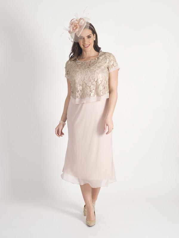 Soft Peach  Gold Leaf Appliqué Lace & Chiffon Dress