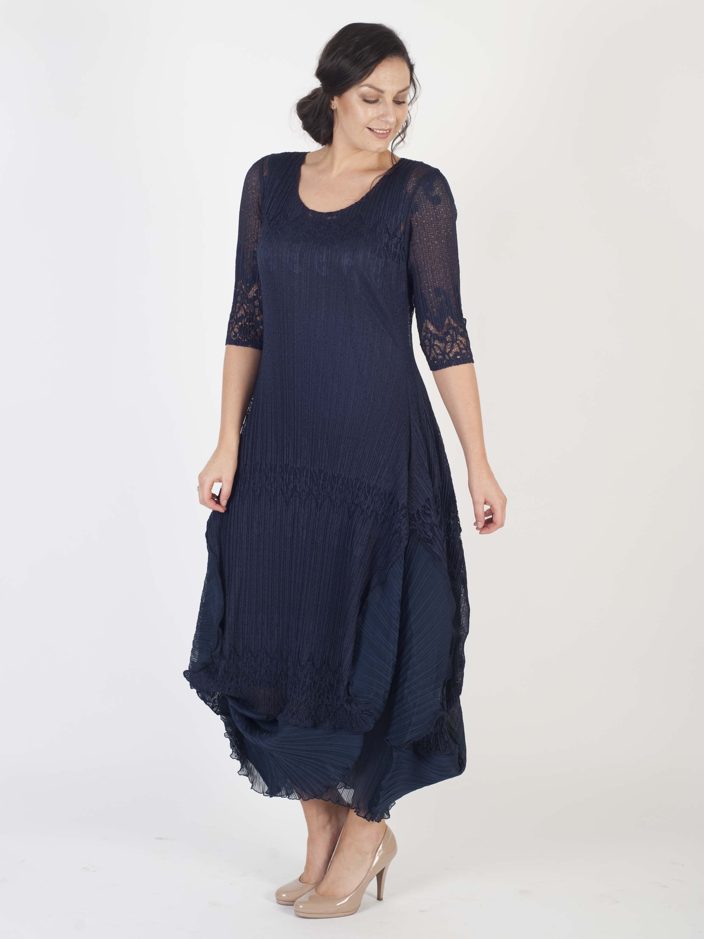 Navy Chiffon Flounce Trimmed Lace Crush Pleat Dress
