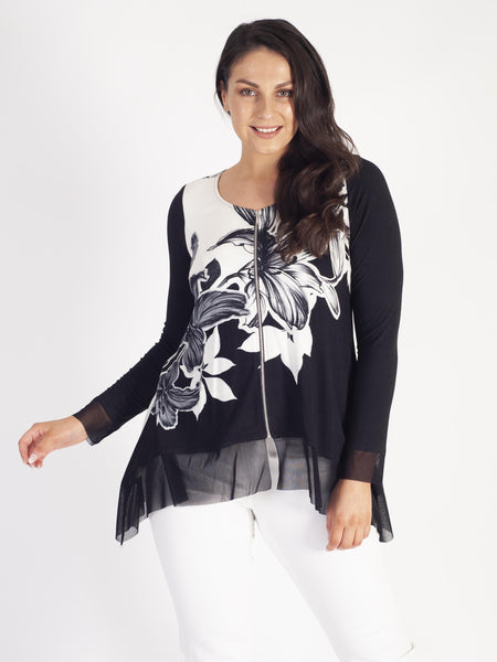 Ivory & Black Garland Zip Tunic