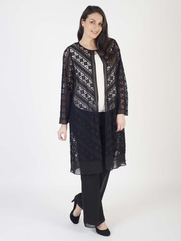 Black Chiffon Trim Chevron Stripe Lace Coat
