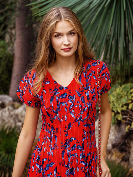 Coral Pleated Print Top