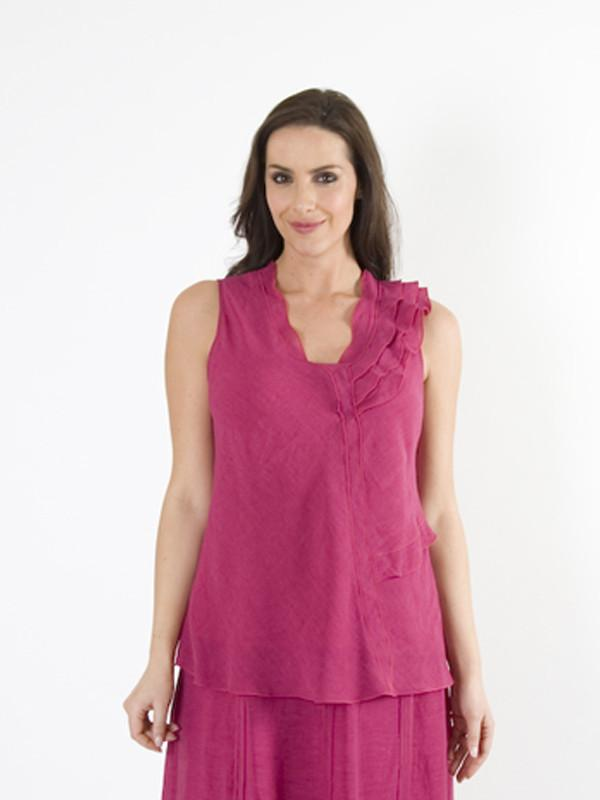 Deep Pink Frill Top in Linen