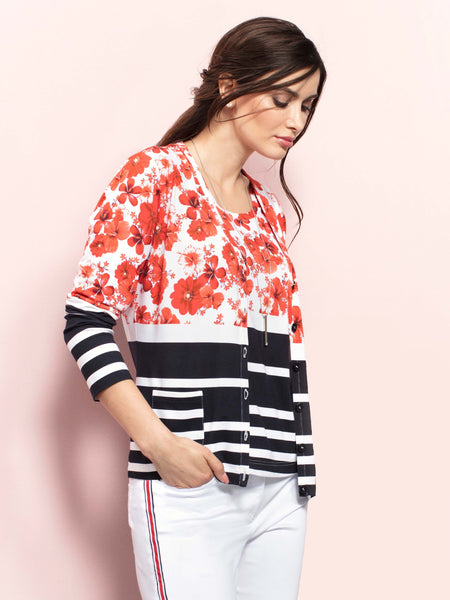 Eugen Klein Red Flower Top With Navy/White Stripe Border