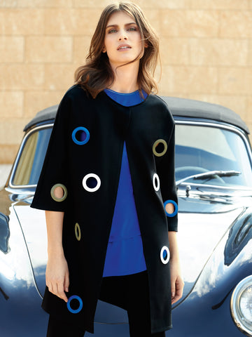 Joseph Ribkoff Black Edge To Edge Jacket With Cut Out Circles