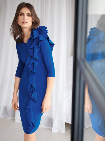 Joseph Ribkoff Cobalt Blue Shift Dress With Rosette On Shoulder-preorder end september