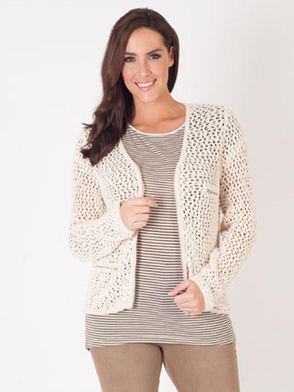AMS Pure Cotton Crochet Knit Jacket