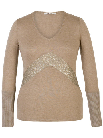 Franchesca Taupe Sequin Detail V-neck Fine Knit Jumper
