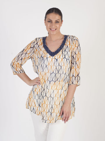 Samoon Navy Printed Tunic
