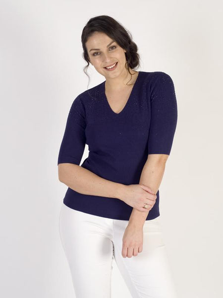 Passioni Navy Short Sleeve Diamante Detail V-neck Jumper