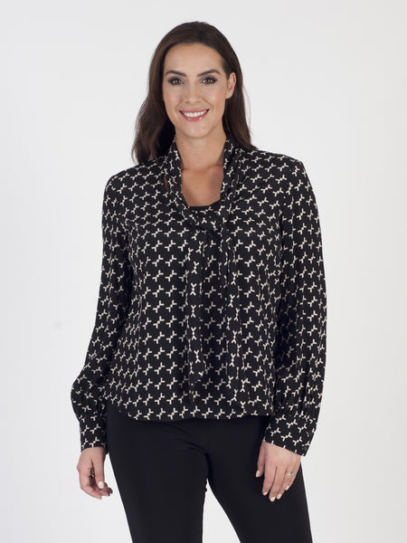 Black/Ivory Printed Tie Front Blouse