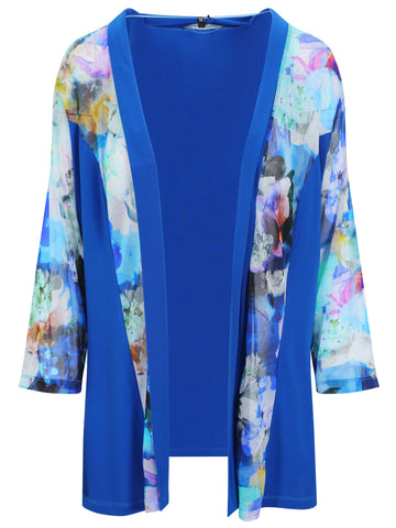 Franchesca Blue Flower Jersey and Mesh Jacket