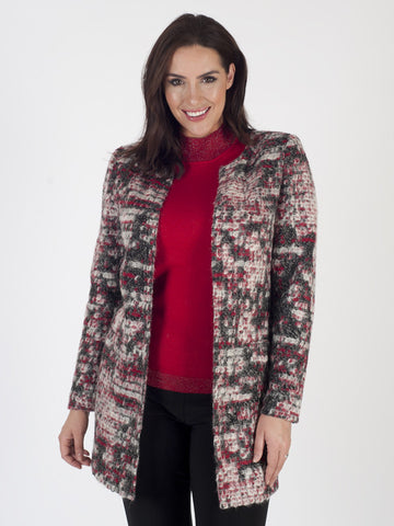 Basler Black, ivory and red Cardigan Jacket