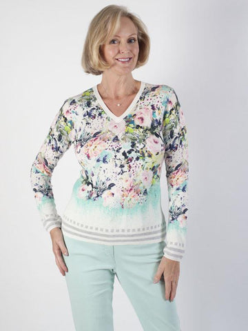 Basler Print-mix V-neck Jumper