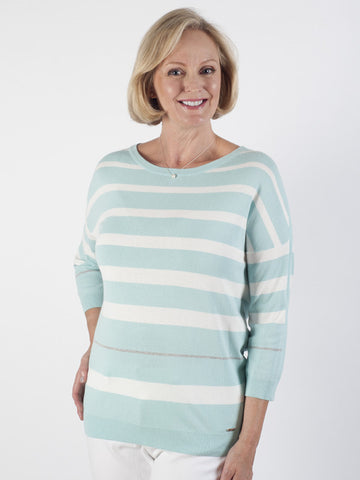 Basler Mint Stripe Fine-knit Jumper