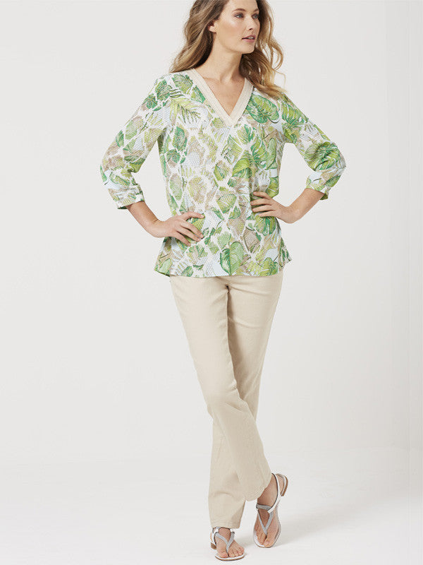Basler Green Tropical Leaf Print Tunic