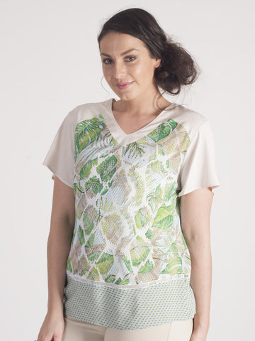 Basler Green Tropical Print Top