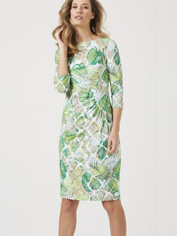 Basler Green Tropical Print Dress