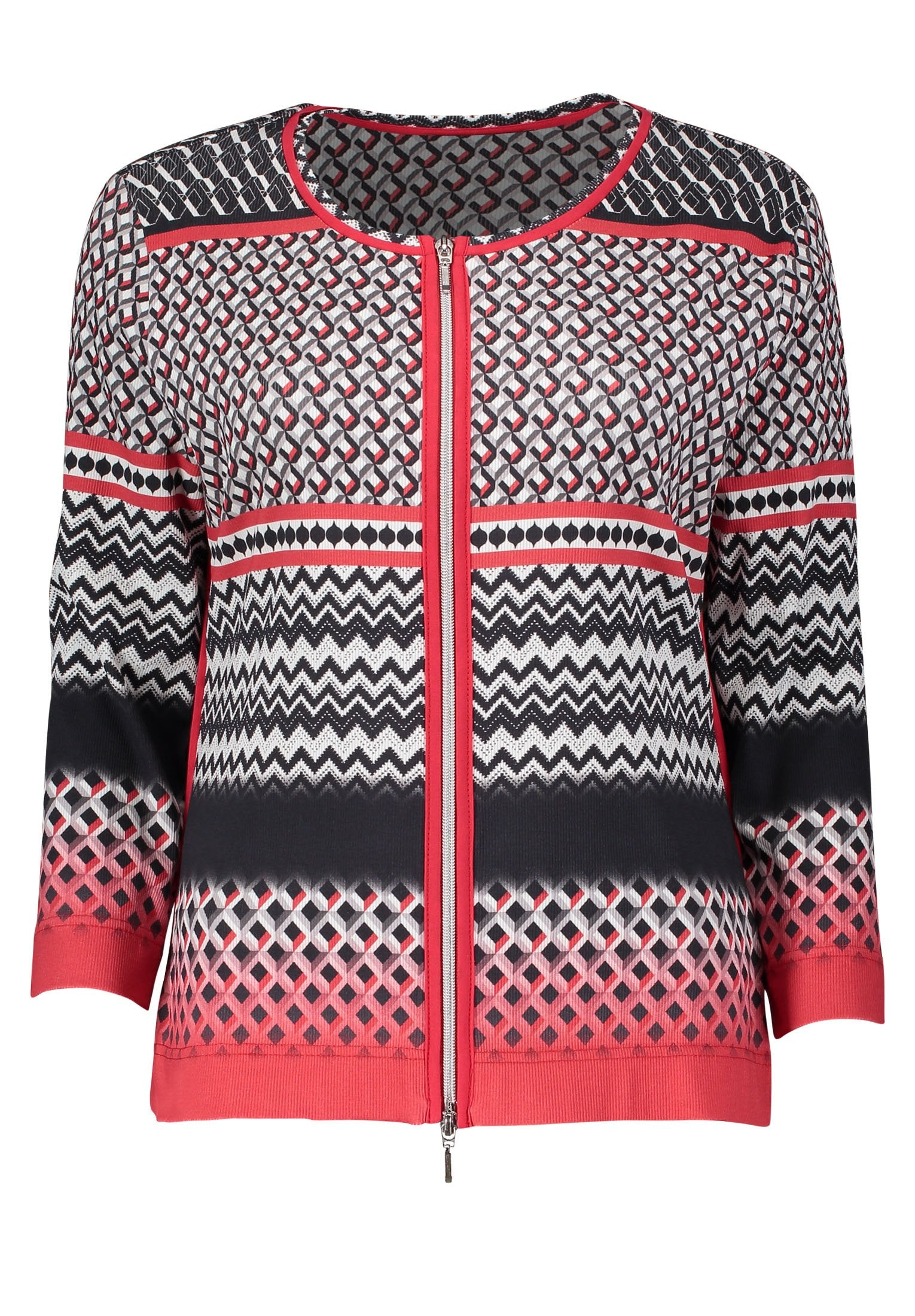 Betty Barclay Black/Red Zip Through Printed Jersey Jacket