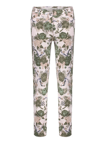 Betty Barclay Rose/Khaki Printed Cotton Stretch Trouser