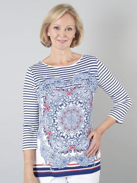 Betty Barclay - Cream /Blue Placement Printed Striped To