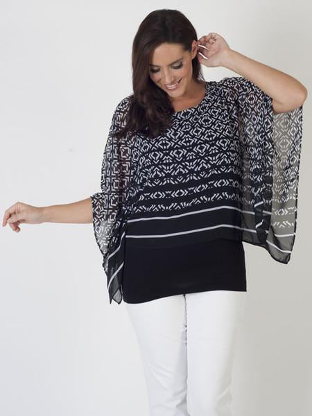 Betty Barclay Black/White Printed Layered Top