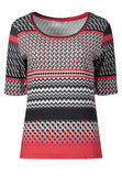 Betty Barclay Black/Red Printed Short Sleeve Jersey Top