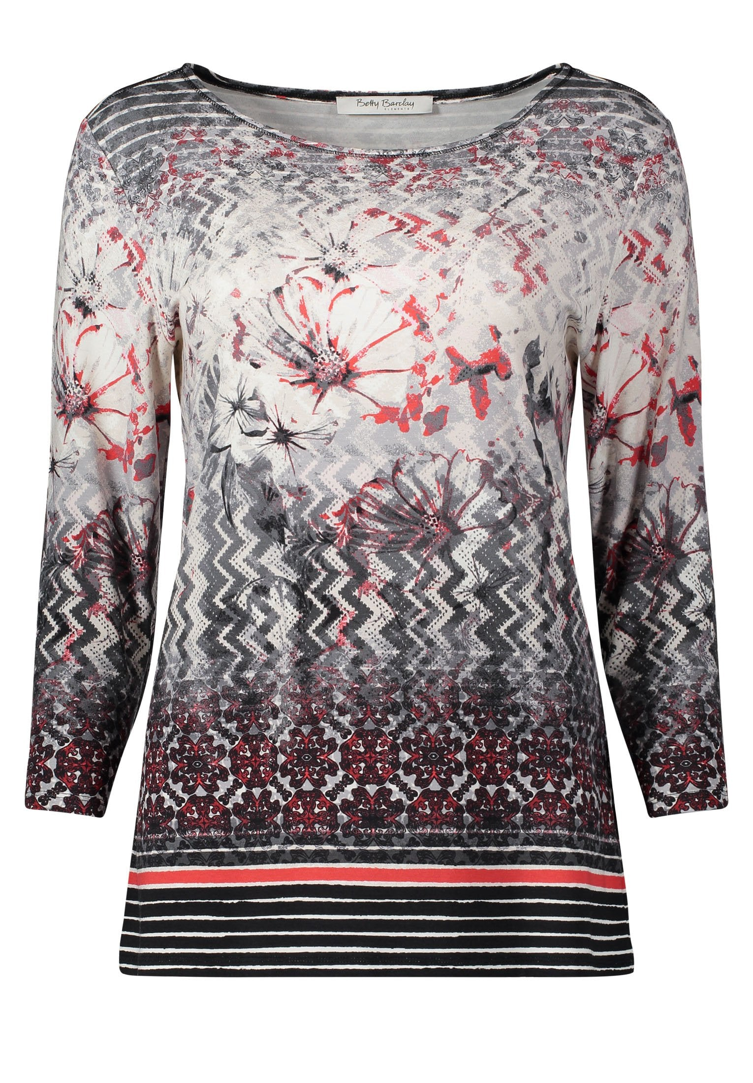 Betty Barclay Cream/Red Printed ¾ Sleeve Top