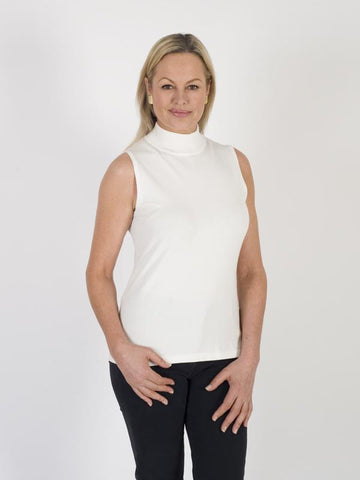 Betty Barclay Off White Sleeveless Turtle Neck Top