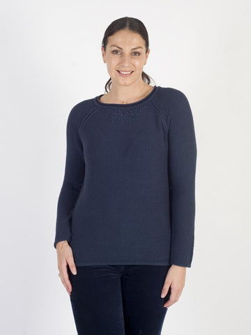 Betty Barclay - Indigo Waffle Knit Jumper With Bead Trims