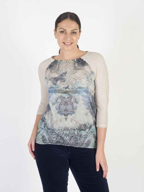 Betty Barclay Beige Butterfly Print Top