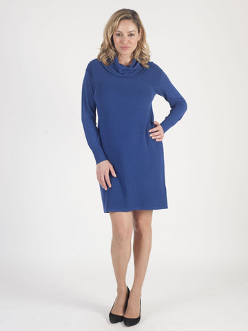 Betty Barclay - Blue Knitted Cowl Neck Dress